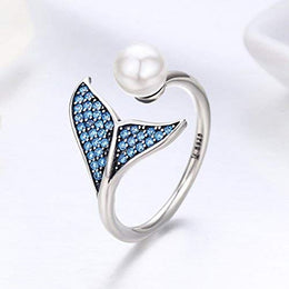 Mermaid Pearl Ring 925 Sterling Silver Cubic Zirconia Adjustable Ring for Women