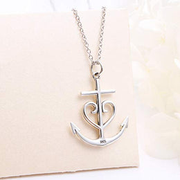 "Faith Hope Love Heart Cross Anchor Vintage Pendant Necklace for Women 20"" Jewelry S925 Sterling Silver Oxidized"