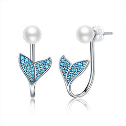 Mermaid Tail Earrings 925 Sterling Silver, Earrings for Women,