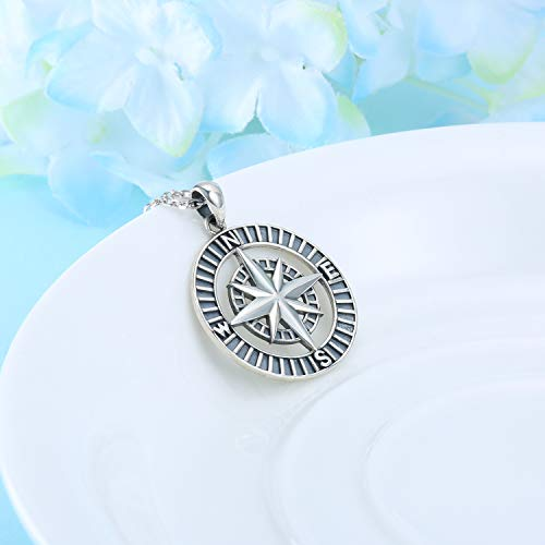Compass Necklace Pendant Gifts for Women Adventure Lovers 925 Sterling Silver Charm
