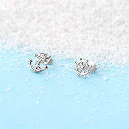 Anchor Earrings Sterling Silver High Polished Nautical Theme Anchor Rudder Stud Earrings for Women Girls: Jewelry