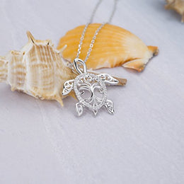 MANBU 925 Sterling Silver Charm Sea Turtle Unique Tree of Life Pendant Necklace