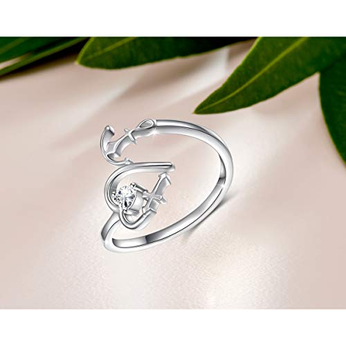 Faith Hope Love Heart Cross Anchor Adjustable Ring: Jewelry S925 Sterling Silver