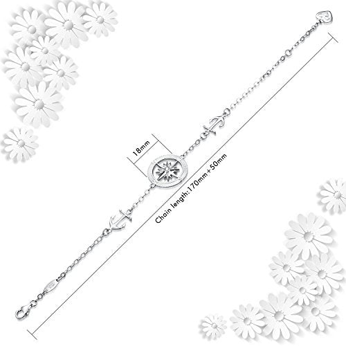 Womens Compass Anchor Charm Adjustable Bracelet Friendship Jewelry 925 Sterling Silver Gift Jewelry
