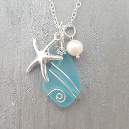 Handmade in Hawaii, Wire Wrapped Turquoise Bay blue sea glass necklace, Starfish charm, freshwater pearl, sterling silver chain