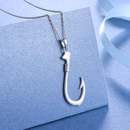Fishing Hook Pendant .925 Sterling Silver Sea Ocean Fish Fisherman Sport Fish Charm