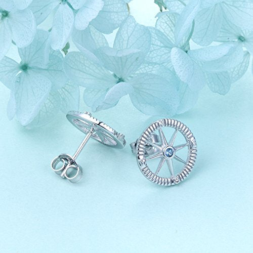 Compass No Matter Where Earrings S925 Sterling Silver North Star
