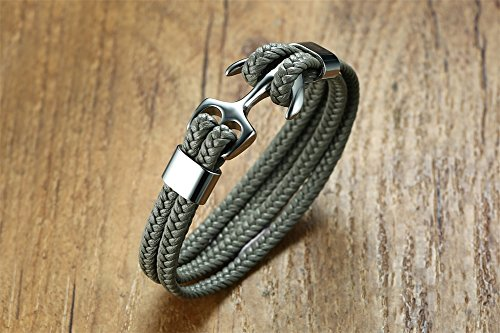 Anchor Strand Bracelet Stainless Steel Genuine Leather Rope for Men, 8'