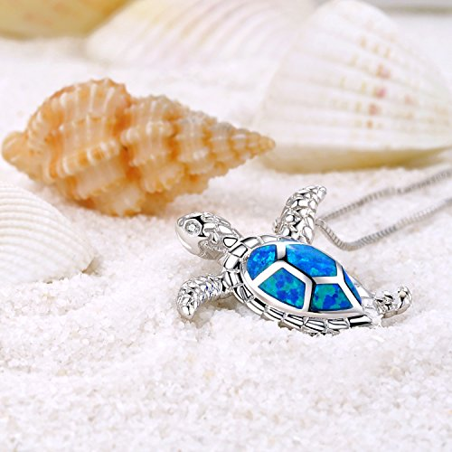 Sterling Silver Created Blue Opal Sea Turtle Pendant Necklace 18""