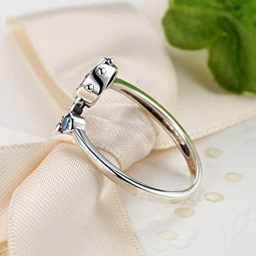 Nautical Anchor Sterling Silver Rings for Women Blue Birthstone CZ