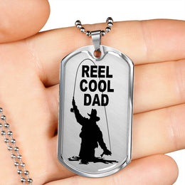 Reel Cool Dad Dog Tag For The Fishing Dad