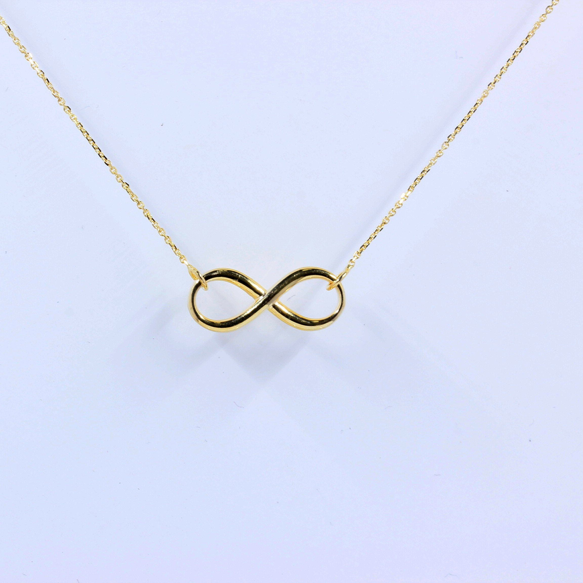 Solid 14K Gold Infinity Pendant Necklace Chain