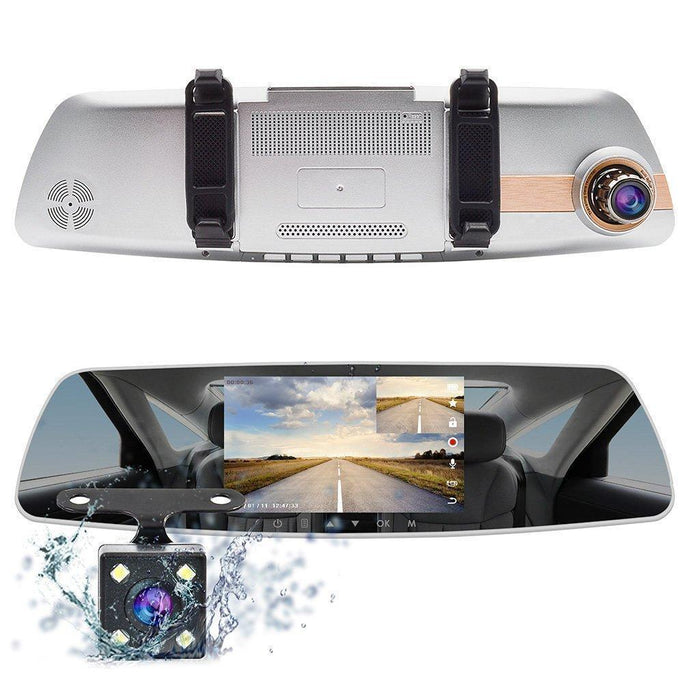 Dual Dash Cam HD 1080P Touchscreen Mirror Dash Camera