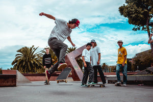 community skateboarding in skatepark