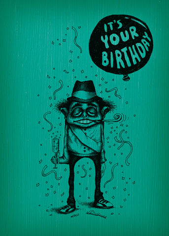 Bald Guy Birthday - Happy Birthday (Congrats on being born) Greeting Card - LocoSonix