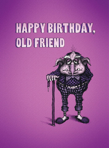 Bald Guy Happy Birthday / Old Friend Greeting Card - LocoSonix