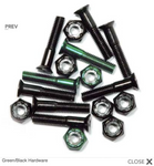 "Steadfast Phillips Head 1"" Colored Hardware - (6 black, 2 green) [8 bolts/nuts]"
