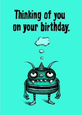 Bald Guy Birthday - Thinking fo you/Normal amount of time Greeting Card - LocoSonix