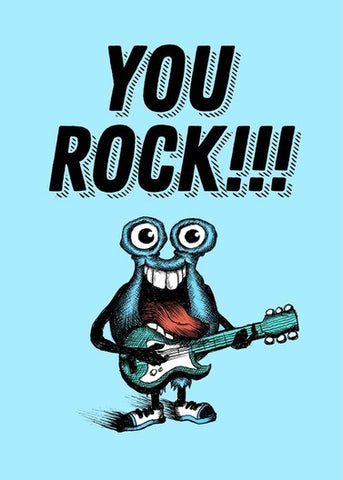 Bald Guy Just Because - You Rock!!! Greeting Card - LocoSonix