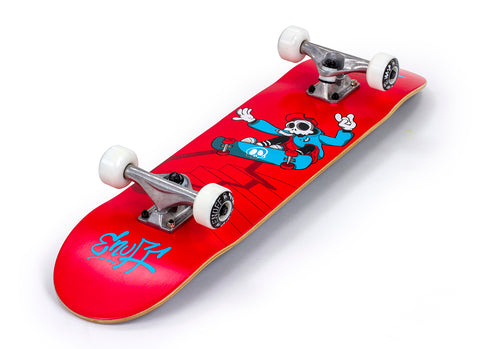 "Enuff 7.25"" Skully Mini Skateboard Complete - Red - LocoSonix"