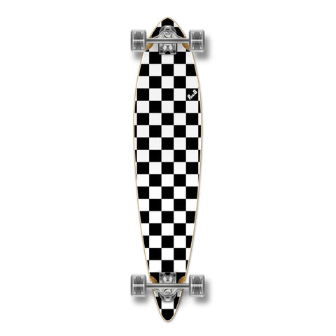 "Yocaher 40"" Checker White Pintail Longboard Complete"