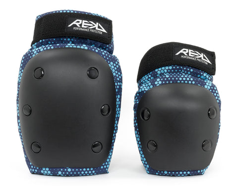 REKD Youth Heavy Duty Double Pad Set - Black / Blue - LocoSonix