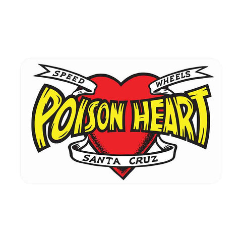 Santa Cruz POISON HEART CLEAR Sticker 5x3.125""