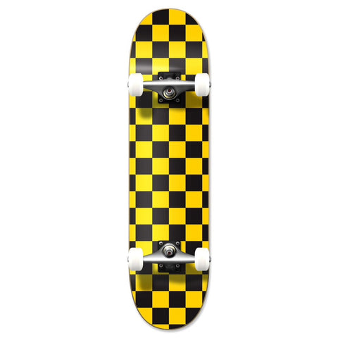 Yocaher Checker Skateboard Complete - Yellow 7.75""