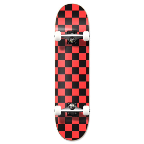 Yocaher Checker Skateboard Complete - Orange 7.75""
