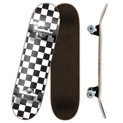Yocaher Checker Skateboard Complete - White 7.75""