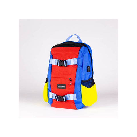 HY Skateboard Backpack Kenter - Red Blue Yel - LocoSonix