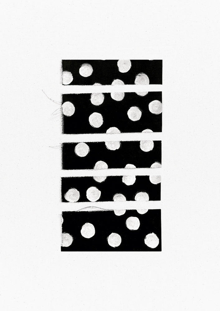 1: A white canvas with a five horizontal black rectangles with white polkadots stacked vertically at its center.