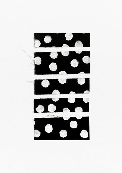 A white canvas with a five horizontal black rectangles with white polkadots stacked vertically at its center.
