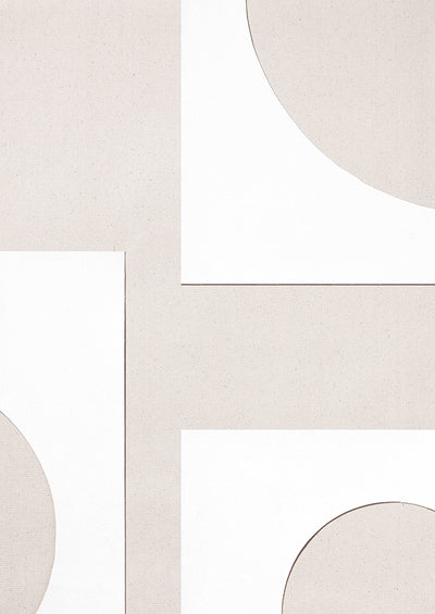 Beige and white geometric shapes create an abstract image.