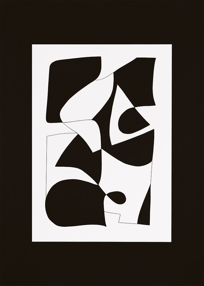 1: An abstract print in black and white.