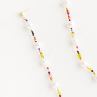 2: Long, dangly post back earrings made from a colorful mix of glass, gemstone & white pearl beads