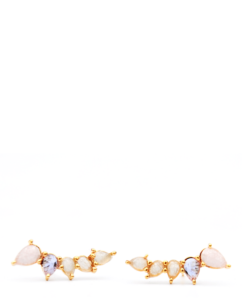 Pastel Teardrop Climber Stud Earrings - LEIF