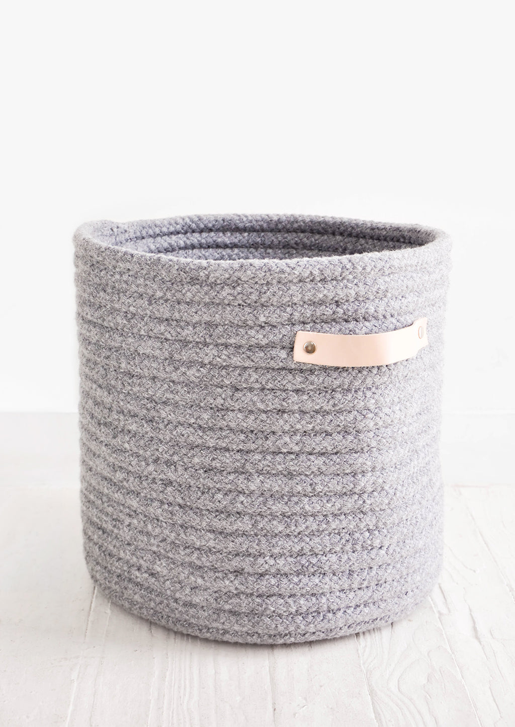 Wooly Storage Bin with Leather in Small / Grey - LEIF
