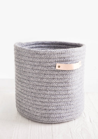 Wooly Storage Bin with Leather
