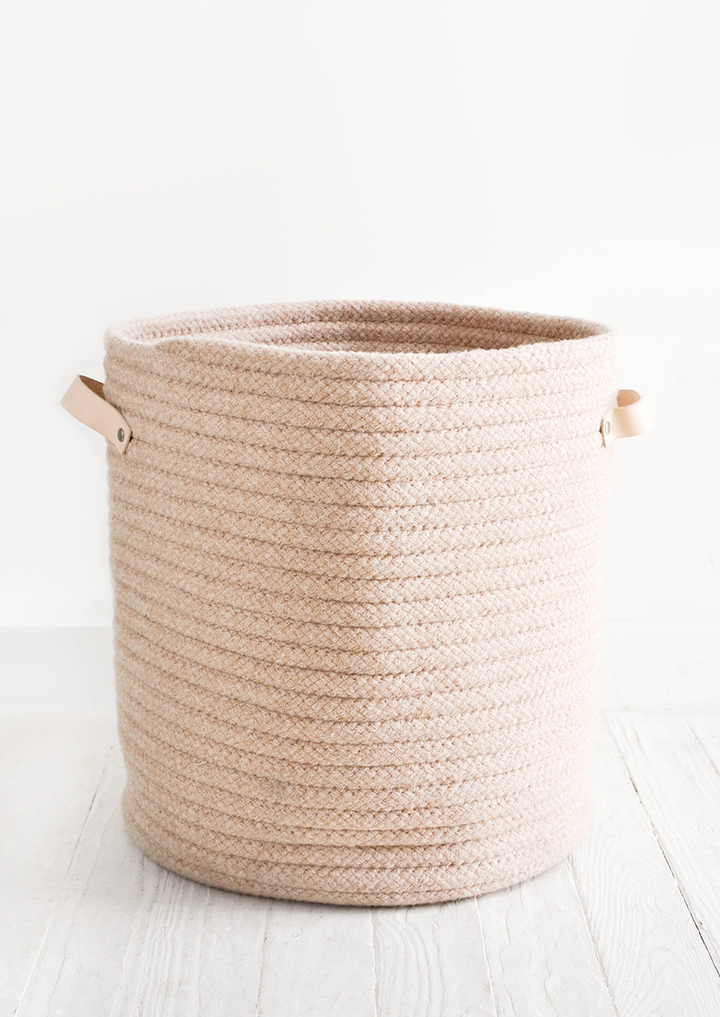 Wooly Storage Bin with Leather in Large / Nude - LEIF