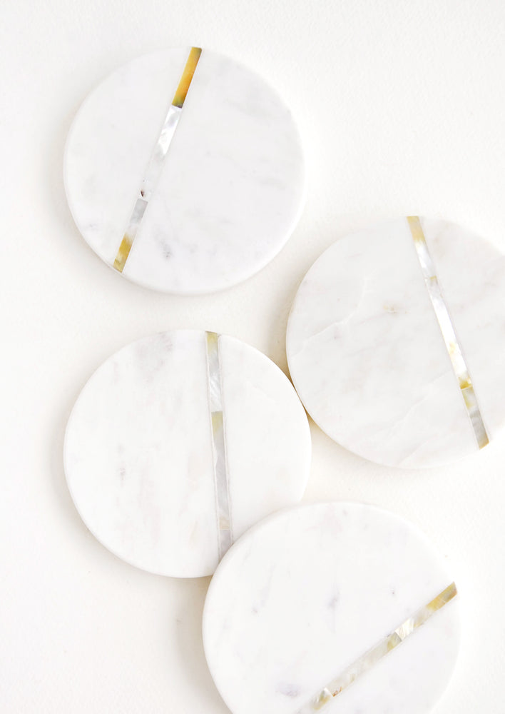 1: Round White Marble Coasters with Abalone Shell Inlay.