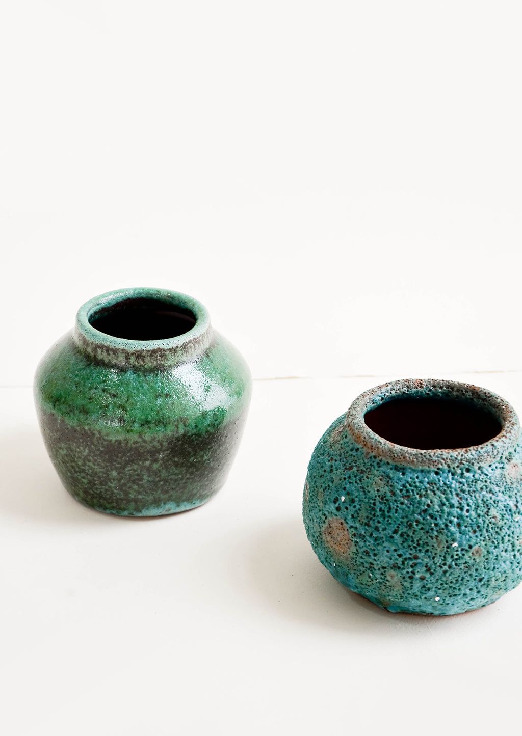 Wide Vase: Short vases in textured turquoise glaze with wide mouth openings