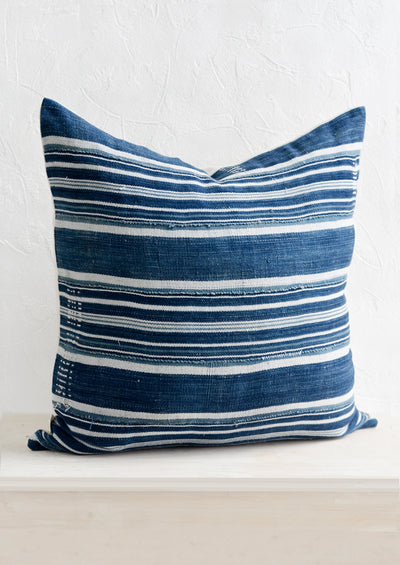 Aged Indigo Striped Pillow hover