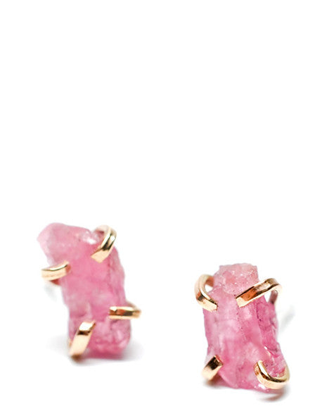 Pink Spinel Claw Stud Earrings - LEIF