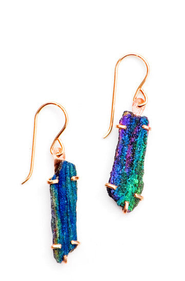 Rainbow Hematite Stick Earrings - LEIF