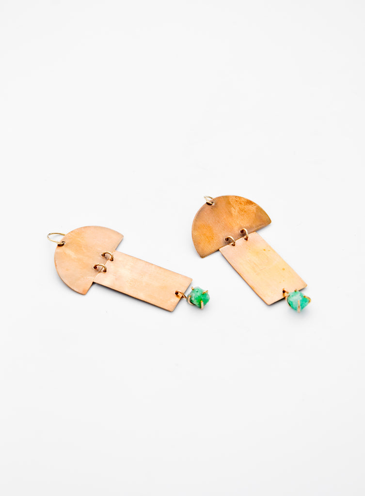 Alana Douvros Bronze Geometric Shape Modern Emerald Earrings