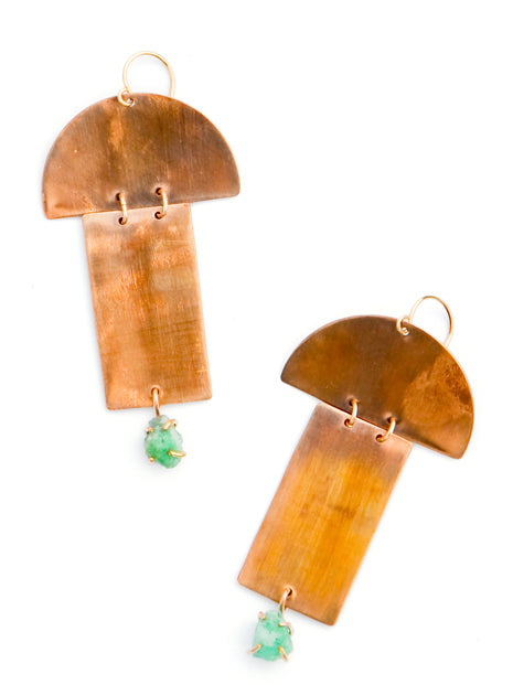 Alana Douvros Bronze Geometric Shape Emerald Statement Earrings