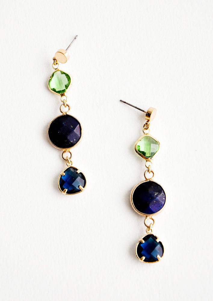 Three stone drop earrings in green and blue.