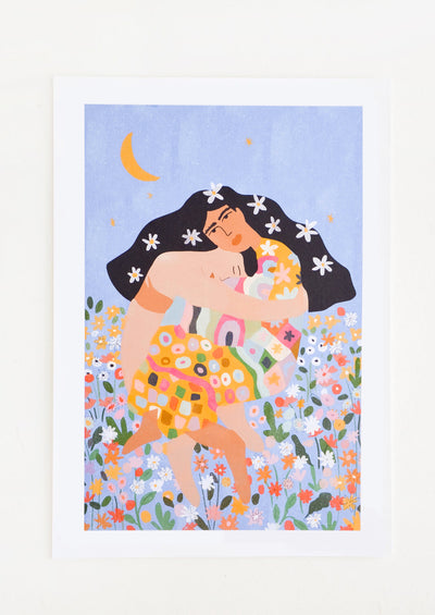 A nude figure embraces a woman with flowing black hair and a long colorful dress in a field of flowers against a periwinkle sky and crescent moon.