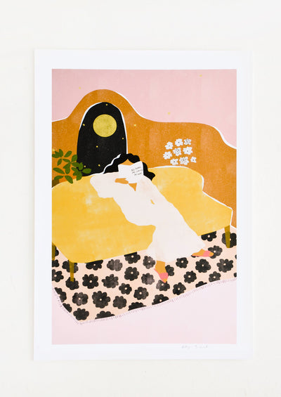 "Whimsical art print of a woman lounging reading a book titled ""Big things are coming my way"""